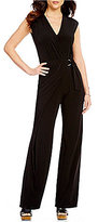 MICHAEL Michael Kors Pleated Side Wrap V-Neck Cap Sleeve Wide-Leg Matte Jersey Jumpsuit