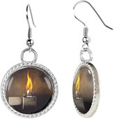 Arthwick Store Open Lighter with Flames on Gray Background Earrings