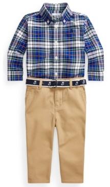 Polo Ralph Lauren Ralph Lauren Baby Boys Shirt, Belt and Pant Set
