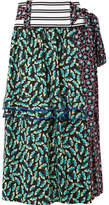 Marni Ribbed Knit-trimmed Printed Silk-blend Crepe Wrap Skirt - Green
