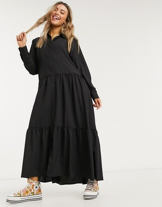 Monki Collina shirt midi dress in black