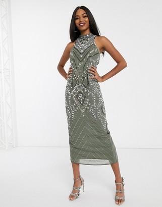ASOS DESIGN high neck embellished midaxi dress