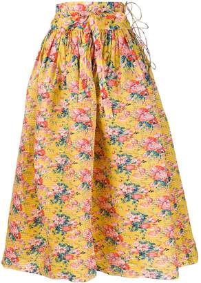 Horror Vacui floral printed flared skirt