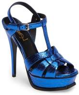 Saint Laurent Women's Tribute Metallic Platform Sandal