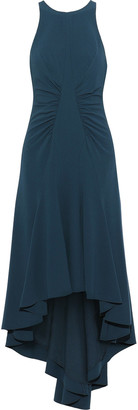 Halston Asymmetric Stretch-crepe Midi Dress