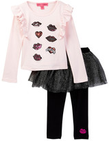 Betsey Johnson Sequin Patch Ruffle Tee & Tulle Legging Set (Toddler Girls)