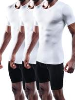 Neleus Men's 3 Pack Athletic Compression Workout Short Sleeve Shirts,5011,Black,Grey,White,XXL