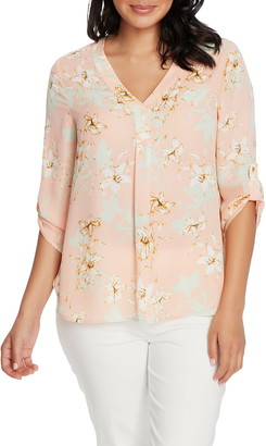 Chaus Floral V-Neck Roll Tab Blouse