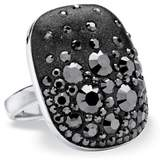 Seta Jewelry Jet Black Crystal Oval Ring Made With Swarovski Elements In Silvertone.