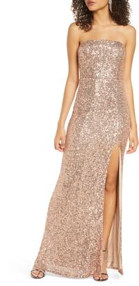 Lulus Lavish Lover Sequin Strapless Gown