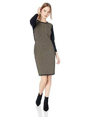 Sandra Darren Women's 1 PC Petite Long Sleeve Metallic Print Sweater Dress