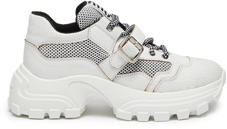 Miu Miu Chunky outsole buckled patchwork sneakers