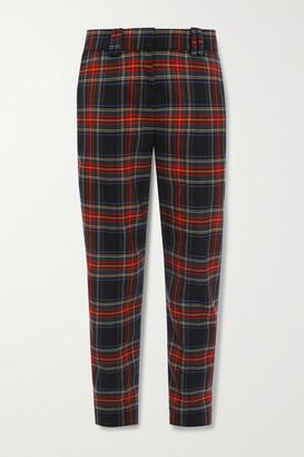 Balmain Checked Wool-blend Slim-leg Pants - Red