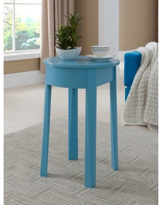 Pilaster Designs Daviot Blue Wood Kids Accent Storage Side Table With Drawer