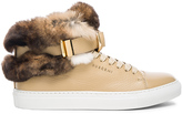 Buscemi 100MM Leather Sneakers with Rabbit Fur