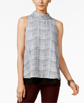 Alfani Printed Turtleneck Layered-Hem Top, Only at Macy's