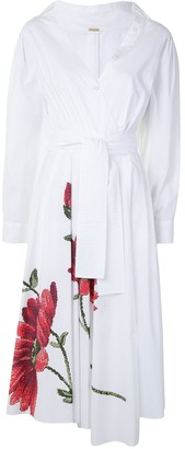 Adam Lippes Asymmetrical Wrap Floral Cotton Poplin Midi Dress