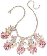 "INC International Concepts I.N.C. Gold-Tone Flower, Stone & Crystal Statement Necklace, 15"" + 3"" extender, Created for Macy's"