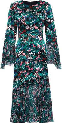 Prabal Gurung Printed Chiffon-paneled Silk-satin Dress