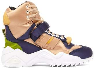 Maison Margiela Retro Fit High Top Distresses Satin Trainers - Womens - Nude Navy