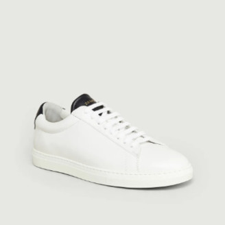 Zespà White and Navy Leather Apla ZSP4 Sneakers - 38 | leather | white and navy