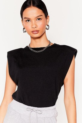 Nasty Gal Womens Power Hour Shoulder Pad Knitted Tank Top - Black