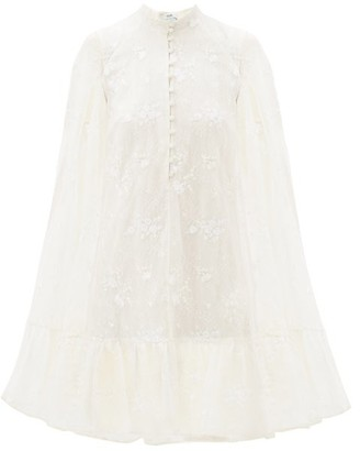 Erdem Constantine Embroidered-cape Mini Dress - Womens - White