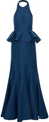 Halston Cotton And Silk-blend Faille Peplum Halterneck Gown