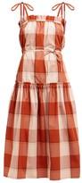 Belize - Elisa Checked Tie-shoulder Cotton Dress - Womens - Red Multi