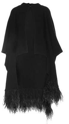 Valentino Wool & Cashmere Feather-Trim Poncho
