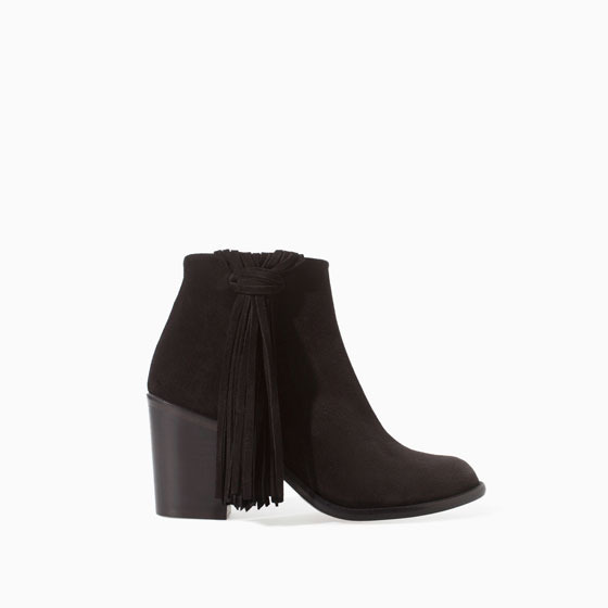Zara High Heel Leather Ankle Boot With Fringes