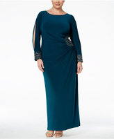 Xscape Evenings Plus Size Embellished Split-Sleeve Column Gown