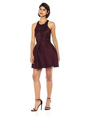 Halston Women's Sleeveless High Neck Satin Strip Structure Dress
