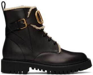 Valentino Black Garavani VLogo Shearling Combat Boots
