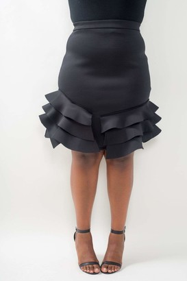 Buxom Couture Pencil Skirt w/ Side Ruffles in Black Size 1X