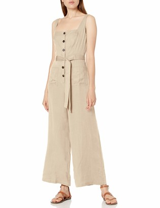 ASTR the Label Women's Sleeveless Square Neck Button UP Mirage Wide Leg Jumpsuit