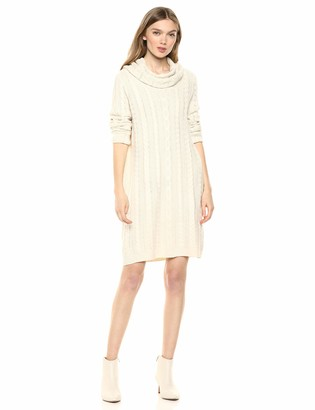 BB Dakota Women's Alaska Cowl Neck Cable Sweater Dress