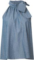 Apiece Apart chambray tie neck halter top - women - Cotton - 2