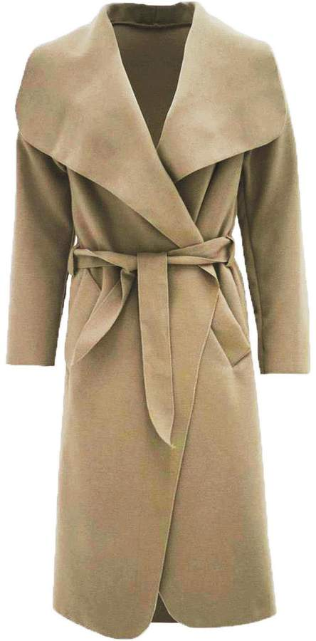 Fashion Box Womens Plain Long Sleeves Duster Cape Belted Waterfall Coat