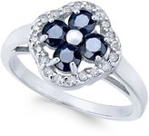 Macy's Sapphire (1-1/3 ct. t.w.) and Diamond (1/5 ct. t.w.) Clover Ring in 14k White Gold