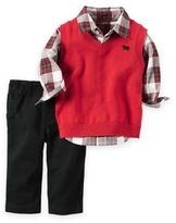 Carter's Newborn 3-Piece Little Vest, Plaid Shirt, and Pant Set in Red