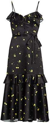 Milly Cherry Satin Midi Dress