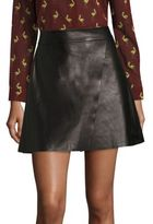 Alice + Olivia Trixie Crossover Leather Mini Skirt