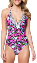 Jessica Simpson Botanica Strap Back One-Piece Maillot