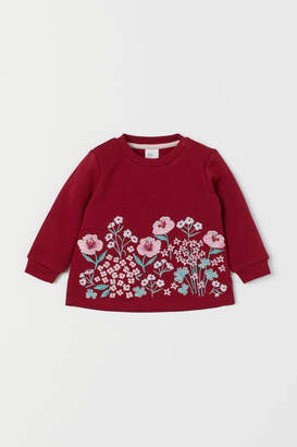H&M Sweatshirt with Embroidery - Red