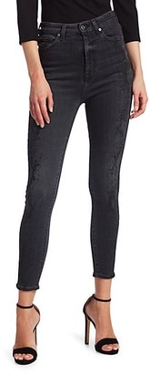 7 For All Mankind Aubrey Snake Print High-Rise Skinny Jeans