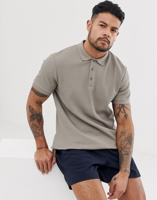 ASOS DESIGN jersey waffle polo in beige