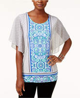 JM Collection Petite Flutter-Sleeve Printed Blouse, Created for Macy's