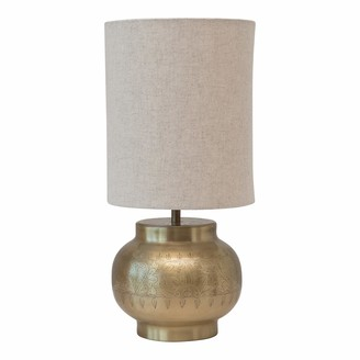 Creative Co-op DF4489 Traditional Metal Table Engraved Pattern Ivory Linen Shade with Inline Switch