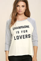 Amuse Society Champagne is for Lovers Grey Long Sleeve Top
